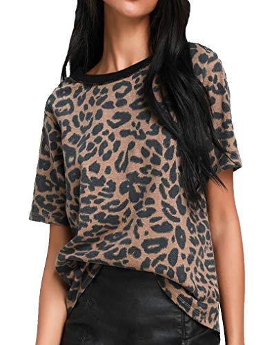 395532c31 Womens Tops Summer Leopard Print Short Sleeve Casual Tshirts for Teens  Leopard05 S
