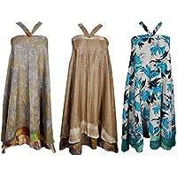 Mogul Womens Wholesale 3 Pcs Lot Indian Two Layers Recycled Sari Magic Wrap Around Long Skirt