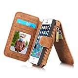 Felidio iPhone SE Wallet Case, Retro Genuine Leather Wallet Case for iPhone SE 5s 5, with Card Holder Zipper Magnetic Flip Detachable iPhone SE Case Cover [2 in 1], Brown