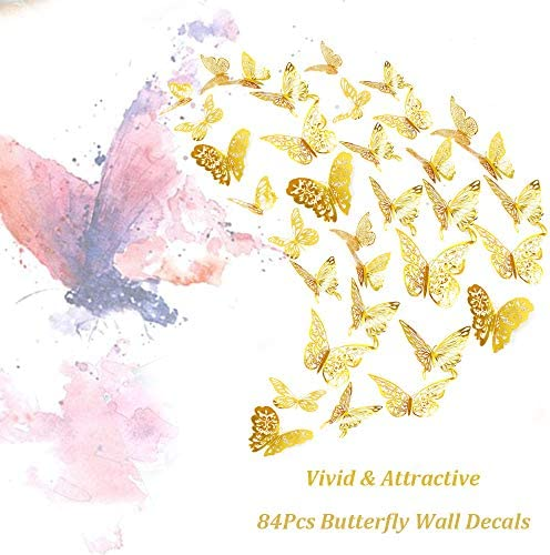 3D Metallic Hollow-Out 84Pcs Butterfly Wall Decals Sticker Decorations Vivid /& Attractive AUHOKY Removable Mural DIY Home Decor for Kids Bedroom Living Room Party Wedding Gold