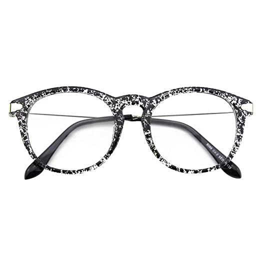 58b90eb785c Happy Store CN88 Fashion Keyhole Metal Temple Oval Horn Rimmed Clear Lens  Glasses