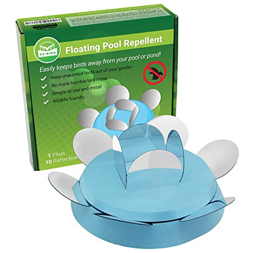 Bird Scaring Balloon - De-Bird Swimming Pool Repellent - Scare Ducks Off and Keep Geese Away from Pond. Works with Scare Eye Balloons, Spikes, Tape. Deters Seagulls, Pigeons, Crows. Floating Disc Deterrent w/ 10 Reflectors