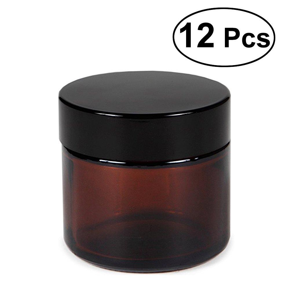 Frcolor 30 Gramm Glas, kosmetische Probe leeren braunen Glasbehälter leere nachfüllbare Behälter für Kosmetik, Cremes, Lotionen, ätherische Öle 12 Pack