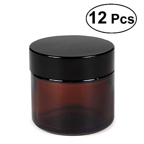 12 Unids Vacío Rellenable Vidrio Marrón Crema Cosmética de La Cara Bálsamo de Labios Botes de