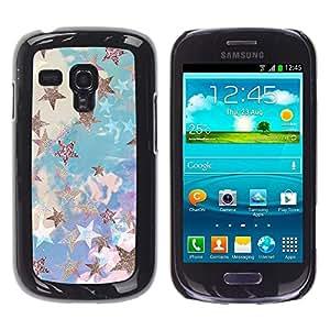 Caucho caso de Shell duro de la cubierta de accesorios de protección BY RAYDREAMMM - Samsung Galaxy S3 MINI NOT REGULAR! I8190 I8190N - Blue Gold Painting Abstract Bling