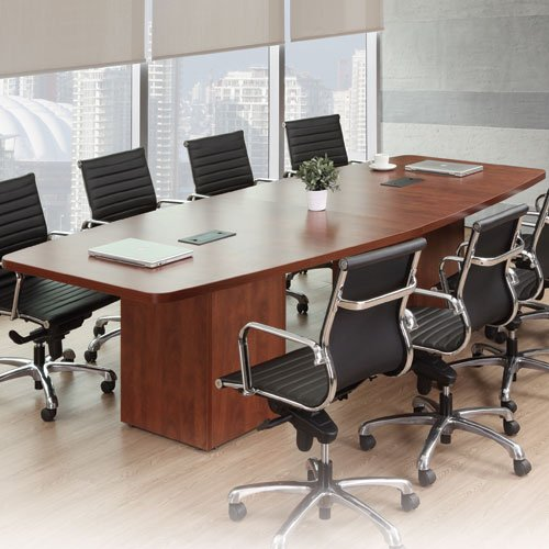 8ft - 26ft Modern Boat Shaped Conference Room Table with Cube Bases, Meeting Boardroom, Office Space (8ft w/ 1 Power Module, Mahogany)