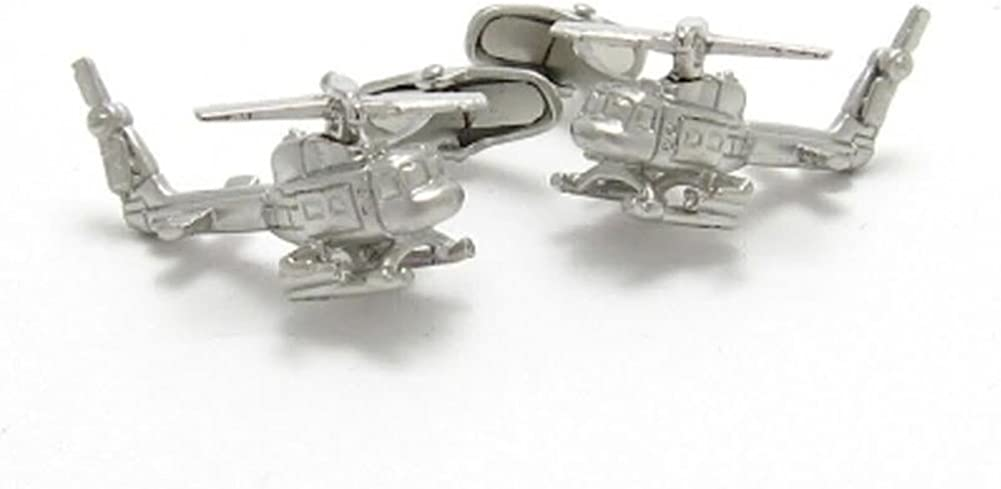 Williams /& Clark Mens Executive Cufflinks Transportation Collection Matte Silver Tone 3D Rotocraft Helicopter Cuff Links