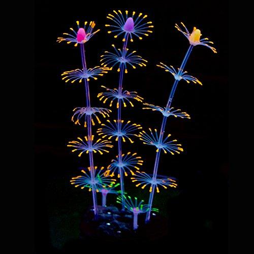 (Uniclife Strip Coral Plant Ornament Glowing Effect Silicone Artificial Decoration for Fish Tank, Aquarium Landscape - Orange)