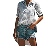 Clearance!Youngh New Womens Blouses Shirts Womens Long Sleeve Blouses Stripe Print Casual Bllouse Cotton Fashion T-Shirt urn-down Collar formal Work Blouse Shirts