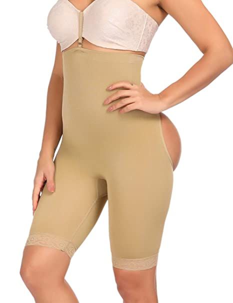 67f5501801d Women s Butt Lifter Lace Boy Shorts Body Shaper Enhancer Panties Thigh  Slimmer Cincher Beige ...