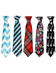Kid's Elastic Necktie Pattern Design 5pc Set 3.