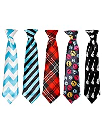 Bundle Monster 5pc Mix Design Boys Formal Pre-Tied Polyester Neckties - Set 3