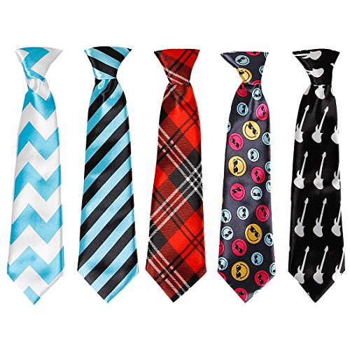 Bundle Monster 5pc Mix Design Boys Formal Pre-Tied Polyester Neckties - Set 3, Spotlight Stealer (Boys Ties Bundle)