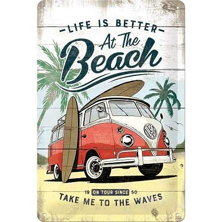 Nostalgic-Art 22277 Volkswagen Bulli de Beach | Retro Cartel de Chapa | Vintage de Cartel, decoración de Pared, Metal, 20 x 30 cm, 20 x 30 x 0.2 cm