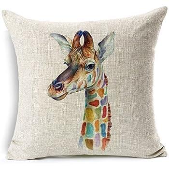 None DreamsBig Cotton Linen Throw Pillow Cover Case 18x18, Giraffe (Giraffe, 18 x 18)