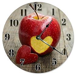 Sugar Vine Art APPLE WITH HEART CUT OUT Clock Large 10.5 Wall Clock Decorative Round Circle Clock Home Decor TEACHER GIFT CLOCK