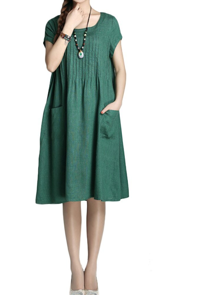 Minibee Women's Summer Solid Color Dress with Two Pockets Style 1 Green XL by Minibee (Image #5)