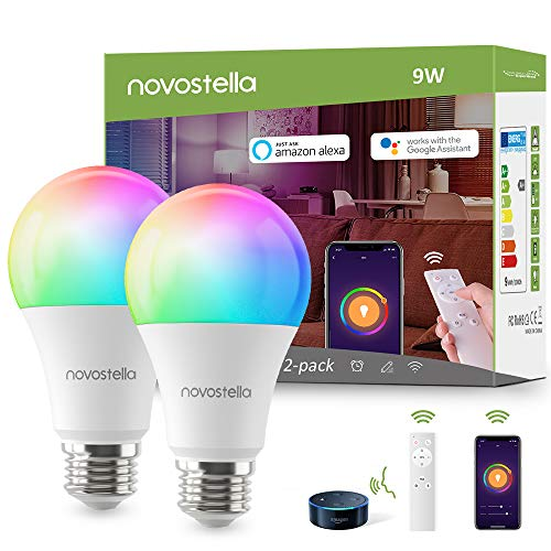 Smart WiFi Light Bulb, LED RGB Color Changing Light Bulbs with Remote Control, A19 E26 2700K-6500K Dimmable Lights Work with Alexa and IFTTT, No Hub Required, 9W (75W Equivalent),2 Pack