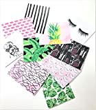 Pretty in the Palms Blank Note Card & Envelopes, 50 sets, Eyelashes, Palm Fronds, Hairpins, Lips, Pineapple, Swans