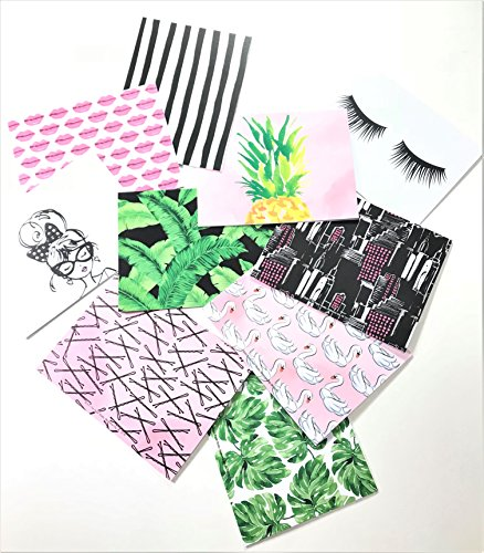 Pretty in the Palms Blank Note Card & Envelopes, 50 sets, Eyelashes, Palm Fronds, Hairpins, Lips, Pineapple, Swans by Elegant Blooms & Things