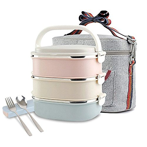 Usangel Stainless Steel Square Lunch Box, Lock Container Bag, Spoon and Fork Set Heat/Cold Insulated Kids Students for A Office Snack Food Storage Boxes (3-Tier)