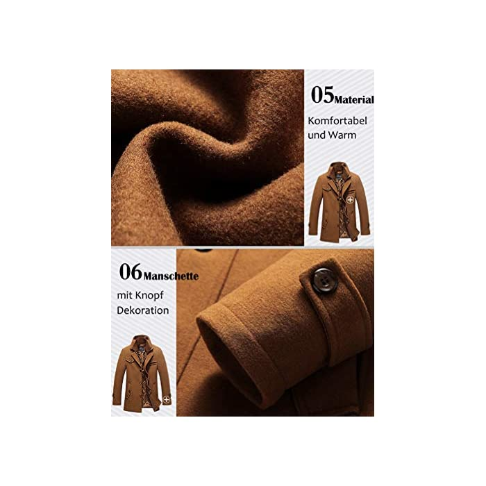 51wcDIP2oPL Abrigo de invierno clásico para hombre con cuello alto y varios bolsillos. Chaqueta de manga larga con cierre de botón, diseño sencillo y elegante. 50% Lana, 50% Poliéster