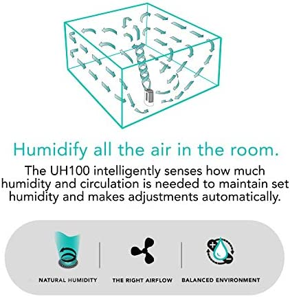 Vornado UH100 Ultrasonic Cool Mist Humidifier with Fan Assisted Whole Room Humidification, Auto Humidity Control, Easy View 1 Gallon Water Tank, White