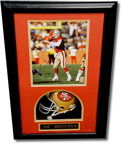 Joe Montana Autographed 8x10 Custom Framed Photo W/ Mini Helmet Shadow Box (Autographed Shadow Box)