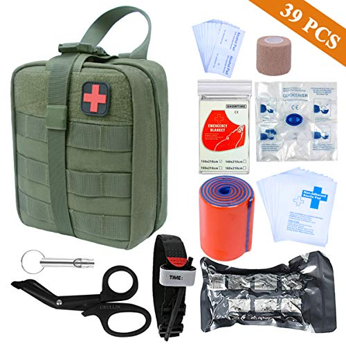 First aid Kit-Tactical Bag,Tourniquet,Adhering Stick,Mylar Blanket,Survival Whistle,CPR Mask,Alcohol Pad,Israeli Bandage,Splint Roll,Medical EMT Scissors (Army Green)