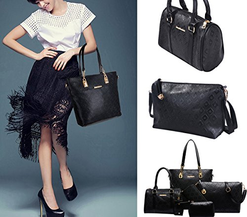 Crossbody Lattice 6 and Bag Black Ladies Handbags Bag Purses Purse Sets Women Messenger 1RwPqIPn
