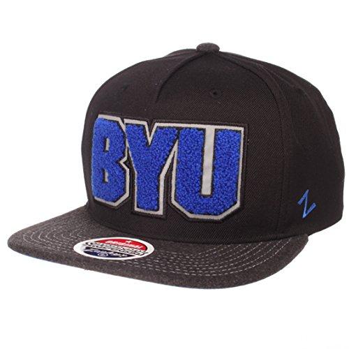 Zephyr NCAA BYU Cougars Men's Jock Snapback Hat, Adjustable, Gray/Team Color
