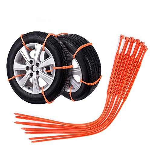 Auto-Partner Tire Snow Chains For Car SUV Chain Tires Emergency Anti-Skid Chain -Set of 10