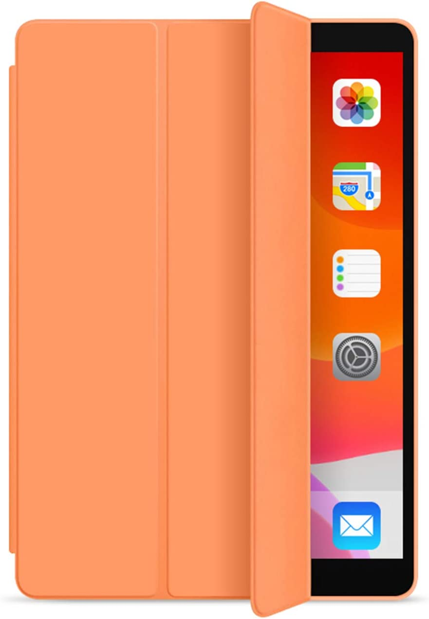 KenKe iPad 7th / 8th Generation Case 10.2 inch 2019 / 2020 Ultra Slim Lightweight Smart Cover TPU Soft Silicone Trifold Stand with Auto Sleep/Wake for iPad 7th Gen iPad 8th Gen case 10.2- Orange