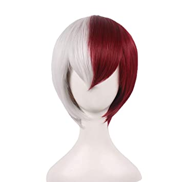 Amazon.com  WildCos Two Tone Half Silver White Half Red Short Cosplay Wig  for Men and Woman  Beauty c2f9a00340b4