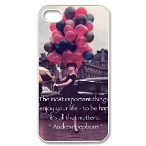 Qxhu Audrey Hepburn Quote patterns Durable Rubber Silicon Case Cover for Iphone4,4S