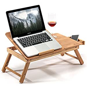 Hankey Bamboo Bed Table Serving Tray for Eating Breakfast, Reading Book, Watching Movie on iPad | Large Foldable Laptop Notebook Stand Desk with Height Adjustable Legs Drawer Cup Holder