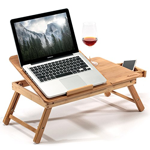 HANKEY Bamboo Large Foldable Laptop Notebook Stand Desk with Height Adjustable Legs Drawer Cup Holder,Bed Table Serving Tray for Eating Breakfast, Reading Book, Watching Movie on - Bed Drawers Pedestal
