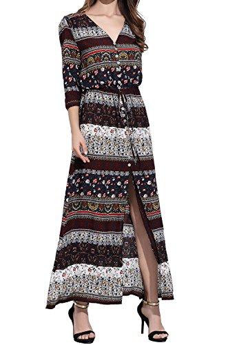 CHERRY CAT Women Bohemian Beach Dresses Mixed Floral Maxi Skirts Long Sundresses (US 14)