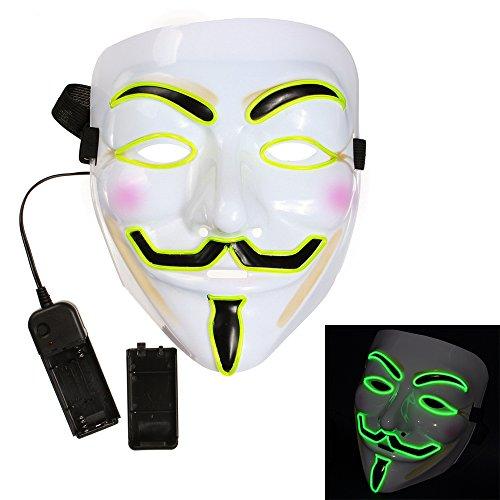 Bonamana Cool V for Vendetta Guy Fawkes Mask LED Light Up Mask Costume EL Wire Halloween Mask (Fluorescent (V For Vendetta Masks)