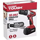 Hyper Tough AQ75006G 18V Lithium-Ion Cordless Drill/Driver Black/Red