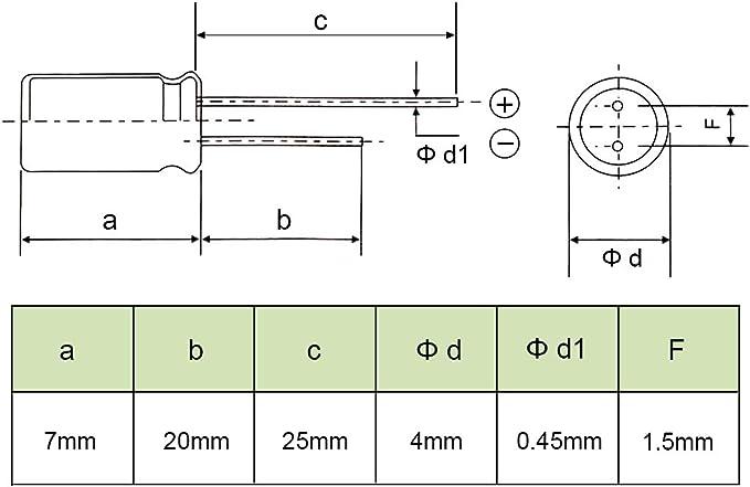100pcs 10 V en aluminium 100uF 105 C Radial Condensateur électrolytique 5X7 Noir