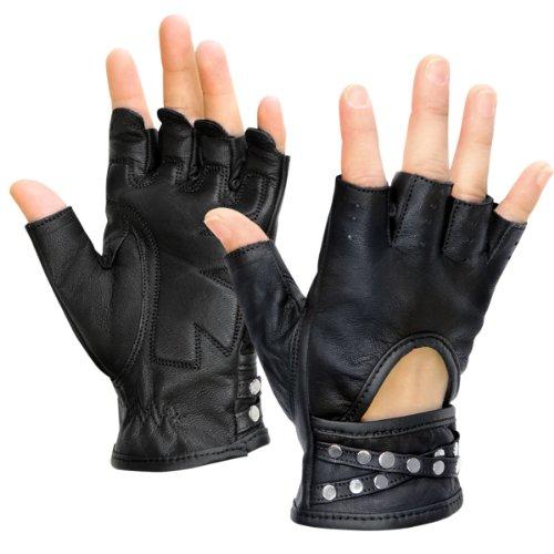 Xelement XG461 Idol Womens Black Fingerless Leather Gloves - Small ()