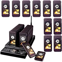 TIVDIO Pager Systems for Restaurants Wireless Calling System Restaurant Pager System with 30 Pcs Coaster Pagers 999-channel Keypad Call Buttons System and Charging Dock Transmitter(30 Pagers)