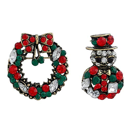 MoGist 2-Pack Vintage Colorful Rhinestone Wreath Snowman Christmas Brooch Pins Badge for Xmas Gifts ()