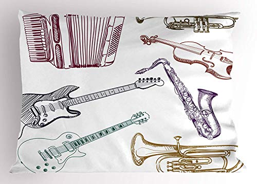 Ustcyla Music Decor Pillow Sham, Musical Instruments Like Cello Guitar Accordion Trumpet Violin Saxophone Print, Decorative Standard Queen Size Printed Pillowcase, 30 X 20 inches, -
