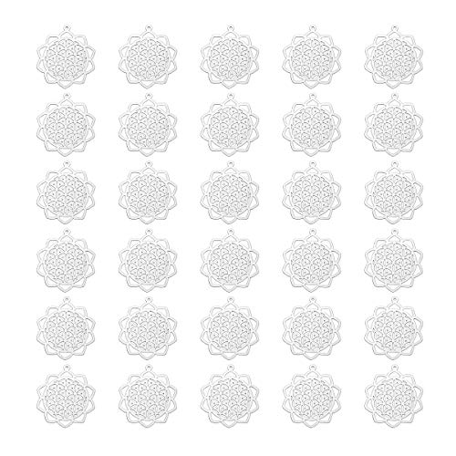 30pcs Stainless Steel Flower of Life Charm Pendant Findings for Jewelry Making 3x2.6cm