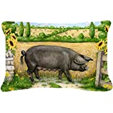 Carolines Treasures CDCO0373PW1216 Black Pig with Sunflowers Fabric Decorative Pillow