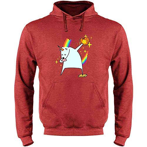 Dabbing Unicorn Softball Shirt Heather Red 2XL Mens Fleece Hoodie Sweatshirt