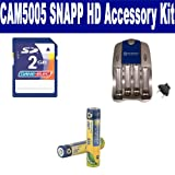 Coby CAM5005 SNAPP HD Camcorder Accessory Kit includes: SB202 Battery, SB257N Charger, KSD2GB Memory Card