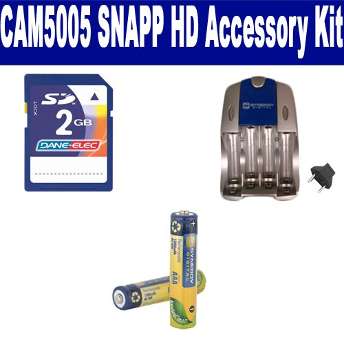 Coby CAM5005 SNAPP HD Camcorder Accessory Kit includes: SB202 Battery, SB257N Charger, KSD2GB Memory Card by Synergy Digital